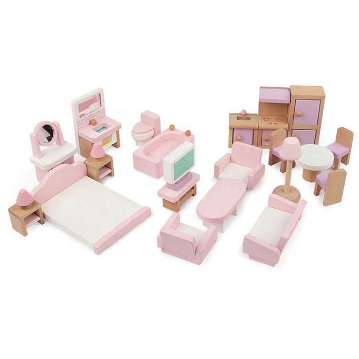Căsută de păpuși roz cu două nivele cu mobilier roz din lemn pentru fete 2