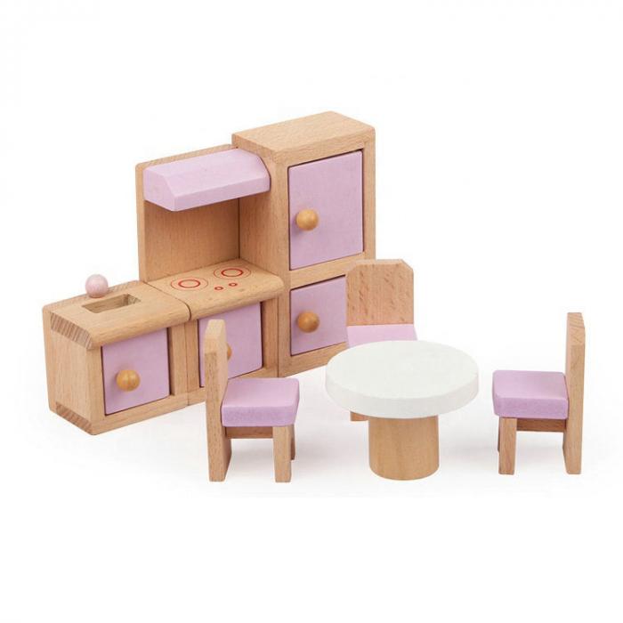 Căsută de păpuși roz cu două nivele cu mobilier roz din lemn pentru fete 3