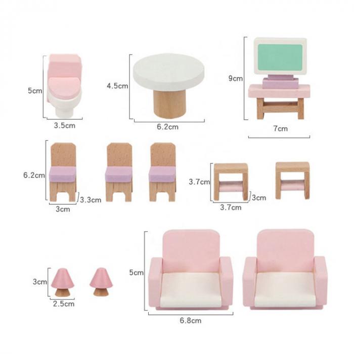 Căsută de păpuși roz cu două nivele cu mobilier roz din lemn pentru fete 4