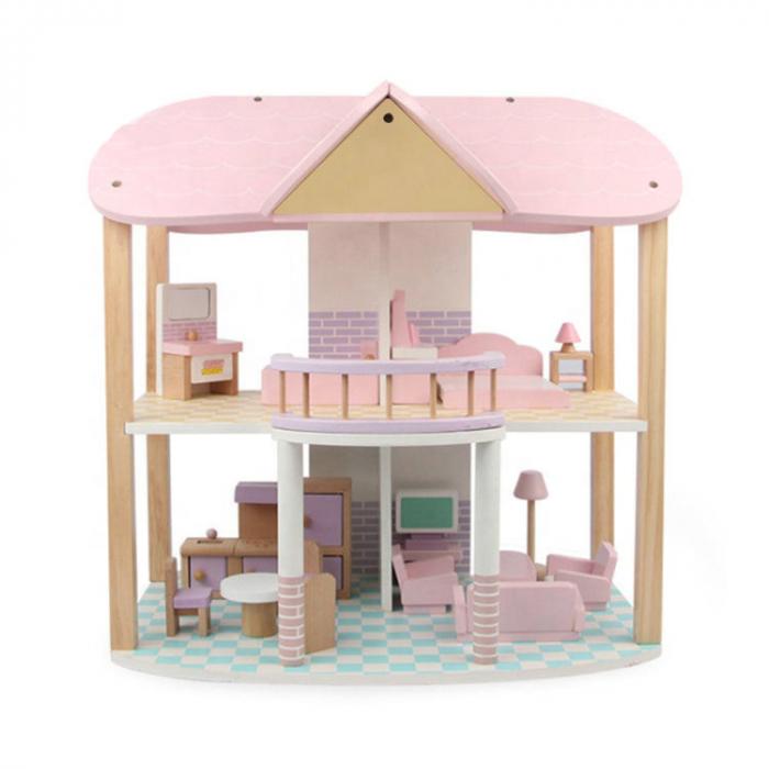 Căsută de păpuși roz cu două nivele cu mobilier roz din lemn pentru fete 0
