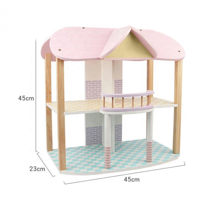 Căsută de păpuși roz cu două nivele cu mobilier roz din lemn pentru fete 1