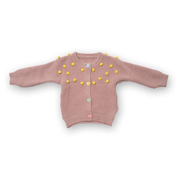 Cardigan din tricot cu nasturi colorati 0