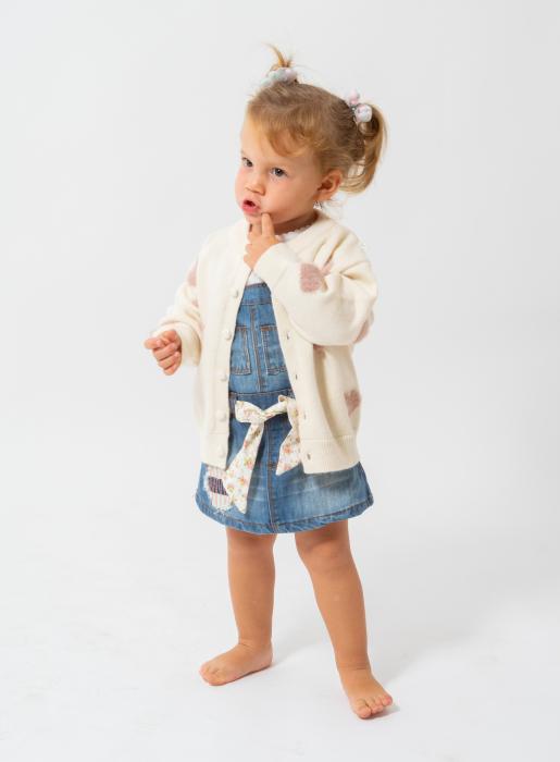 Cardigan din tricot cu nasturi perlati 0