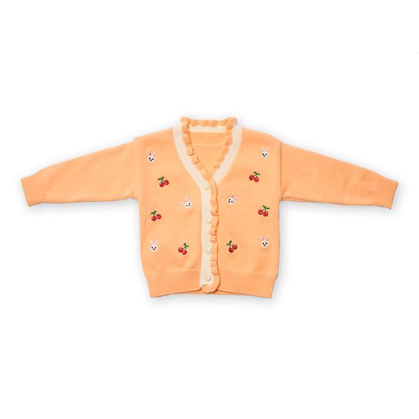 Cardigan din tricot cu volanase si broderie 0