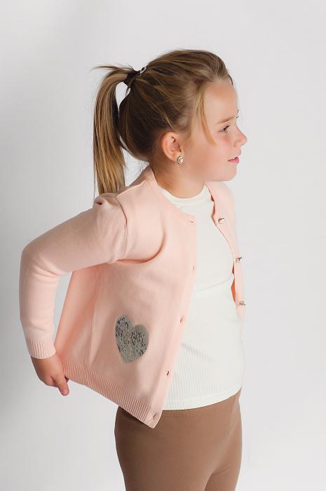 Cardigan roz pudra cu paiete argintii 1