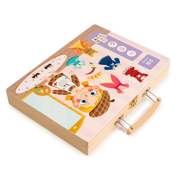 Gentuta din lemn cu carduri si puzzle magnetic - tinute vestimentare 1