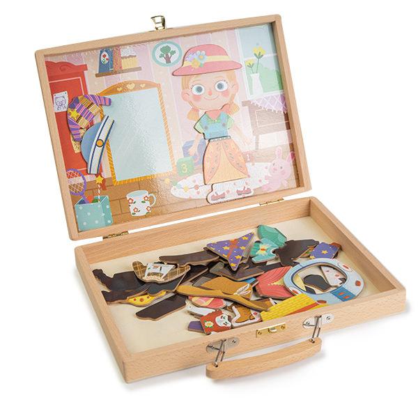 Gentuta din lemn cu carduri si puzzle magnetic - tinute vestimentare 0