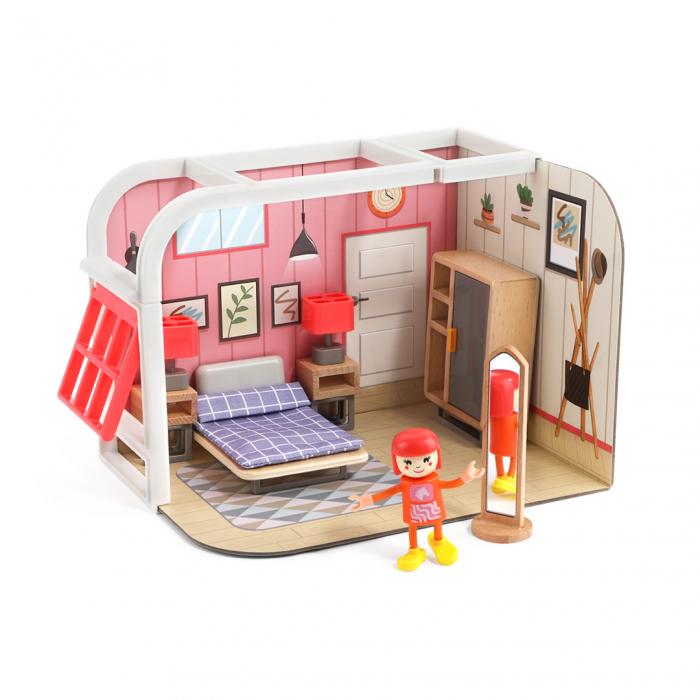 Mini casuta de papusi din lemn - dormitor 0