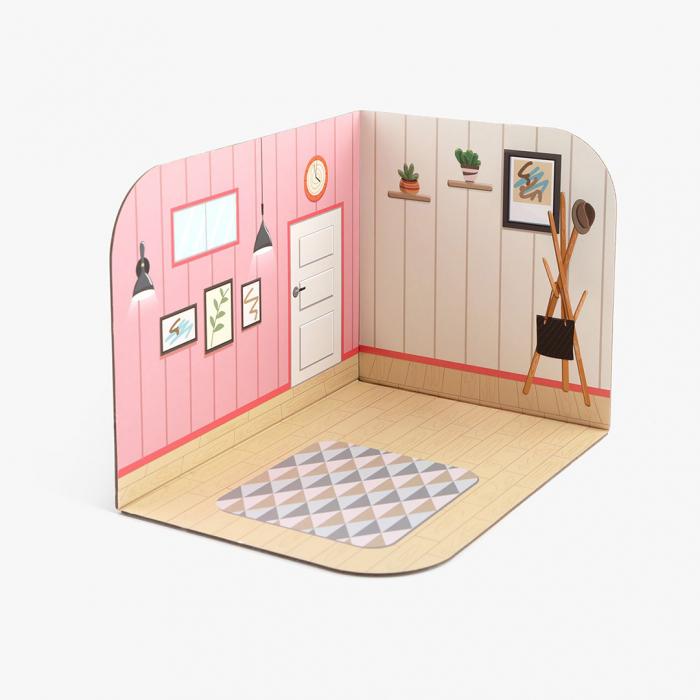 Mini casuta de papusi din lemn - dormitor 1