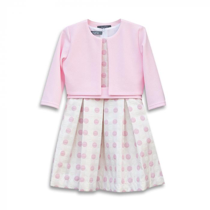 Compleu Elegant Rochie şi Sacou Din Brocart Culoare Roz şi Alb [0]