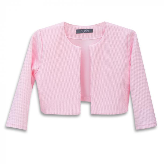 Compleu Elegant Rochie şi Sacou Din Brocart Culoare Roz şi Alb [2]