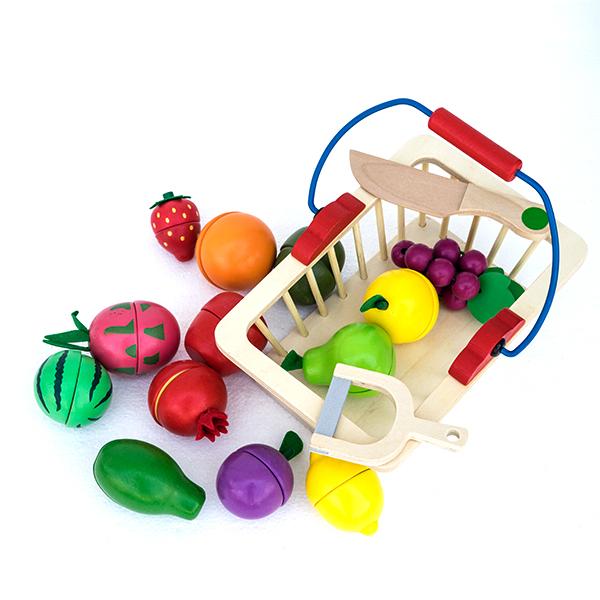 Cos cu fructe din lemn - 16 piese 1