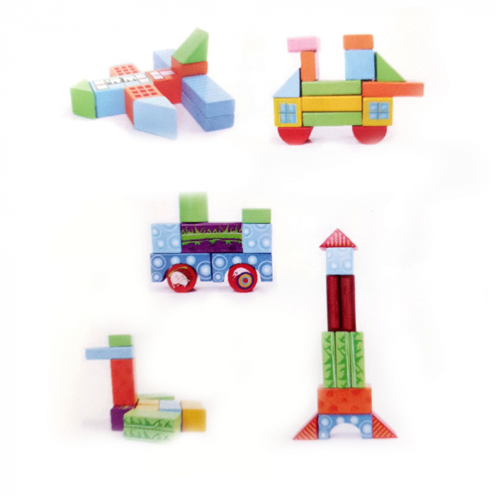 Cuburi construcție din lemn cu animăluțe - 100 piese [3]