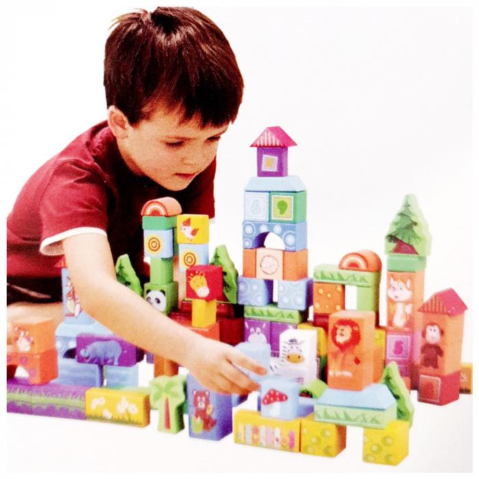 Cuburi construcție din lemn cu animăluțe - 100 piese [1]