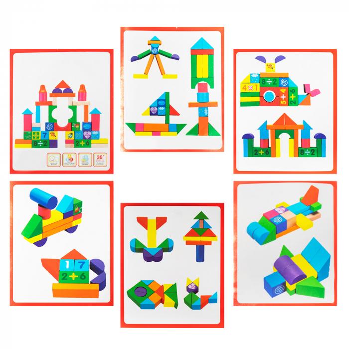 Cuburi construcție din lemn in cutie - 100 piese 1