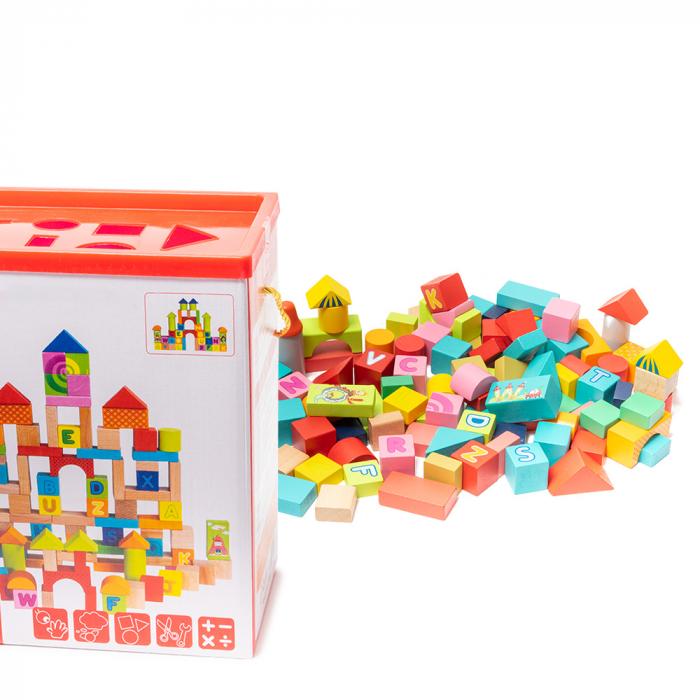 Cuburi construcție din lemn in cutie - 100 piese [0]