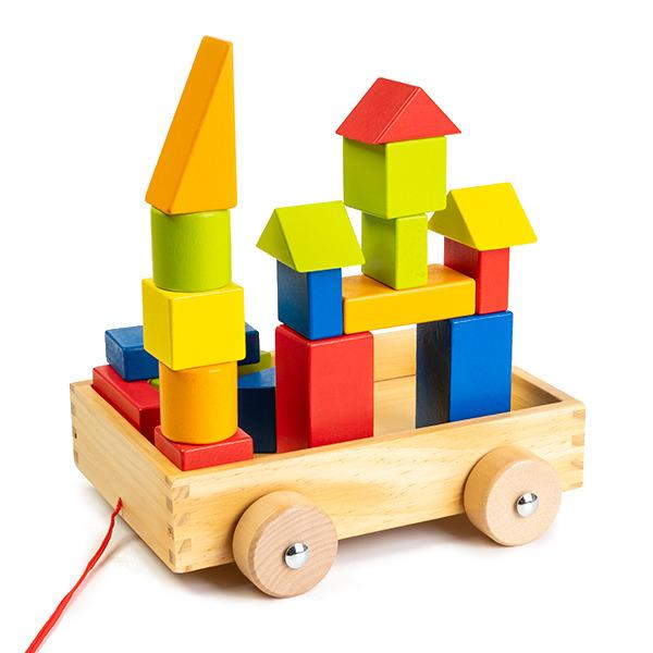 Cuburi construcție din lemn in cutie - 21 piese - jucarie de tras 0