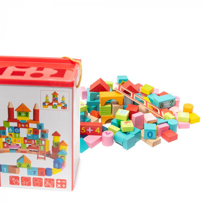 Cuburi construcție din lemn in cutie - 100 piese 0