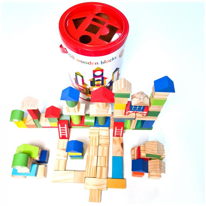 Cuburi constructie colorate din lemn - 100 piese 0