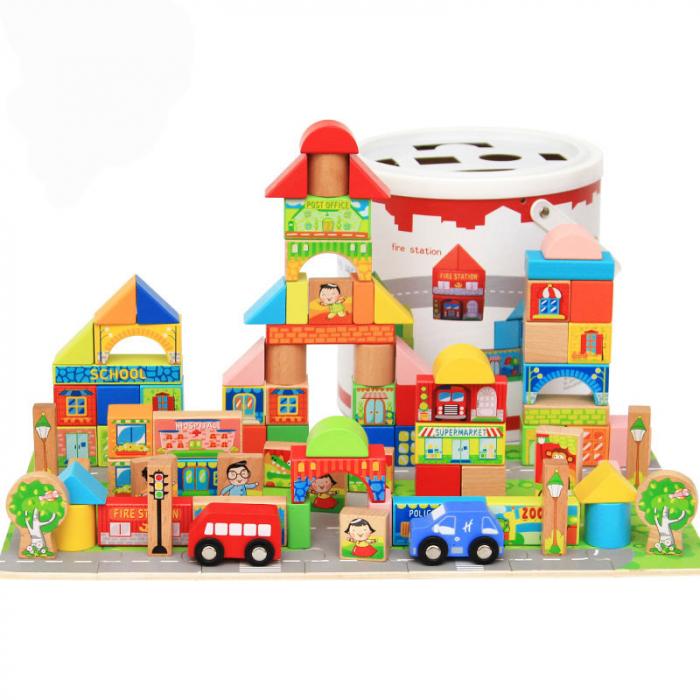 Cuburi constructie si puzzle din lemn - Orasul - 128 piese [0]