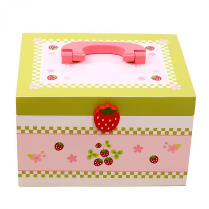 Set de ceai și dulciuri din lemn în cutie verde și roz cu căpșună 1