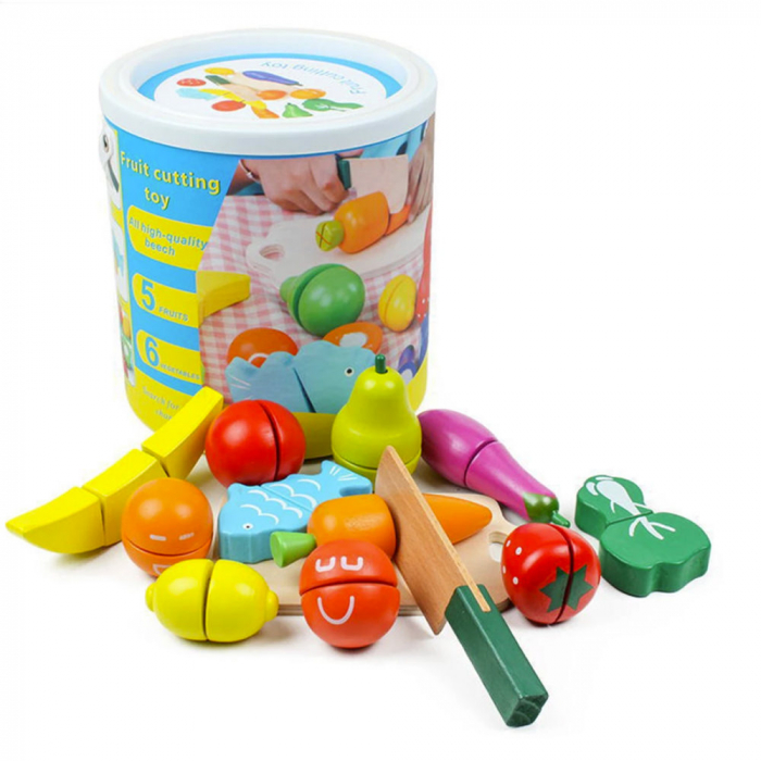 Galeata cu fructe si legume din lemn 0