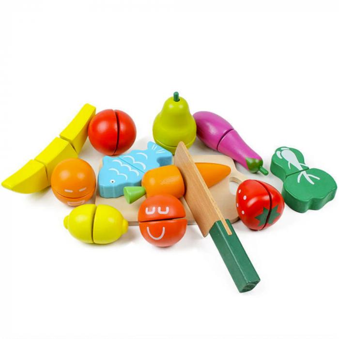 Galeata cu fructe si legume din lemn 1