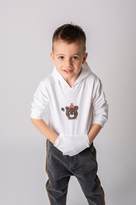 Hanorac alb cu imprimeu ursulet 0