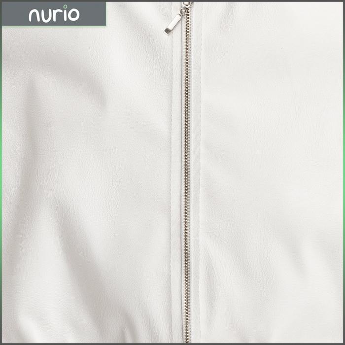 Jachetă Scurtă Cu Efect De Piele Culoare Alb 2