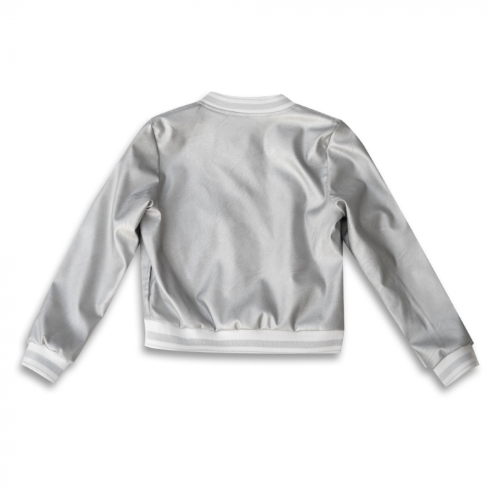 Jachetă Scurtă Cu Efect De Piele Culoare Argintiu [4]