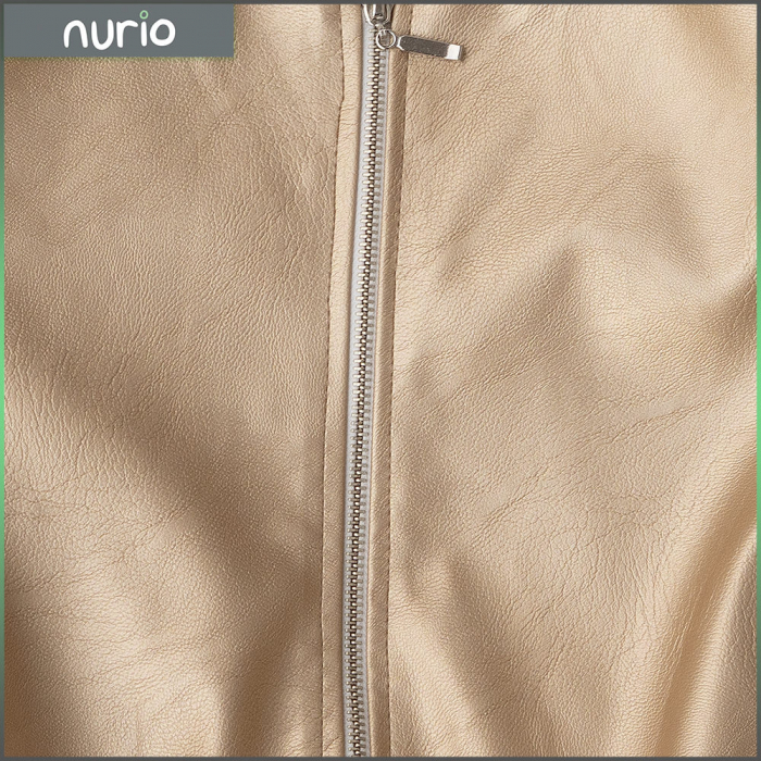 Jachetă Scurtă Cu Efect De Piele Culoare Auriu 2