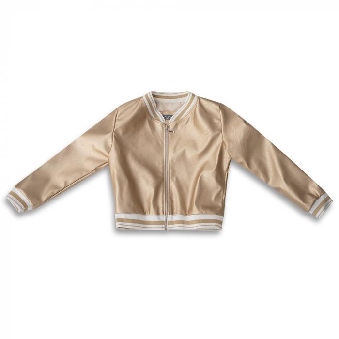 Jachetă Scurtă Cu Efect De Piele Culoare Auriu 0