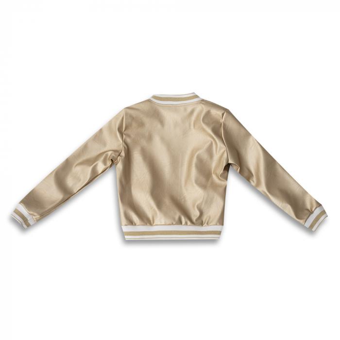 Jachetă Scurtă Cu Efect De Piele Culoare Auriu 1