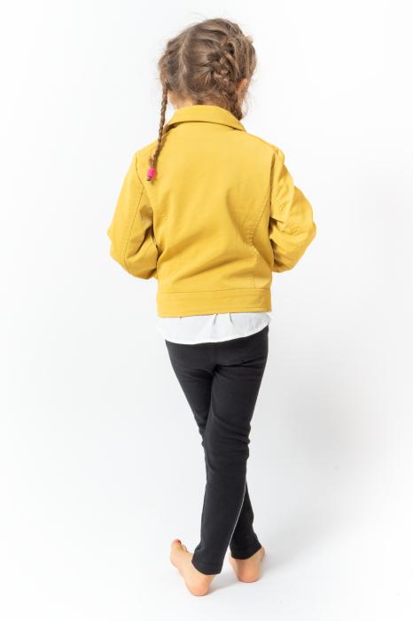 Jachetă Scurtă Cu Efect De Piele Culoare Galben 3