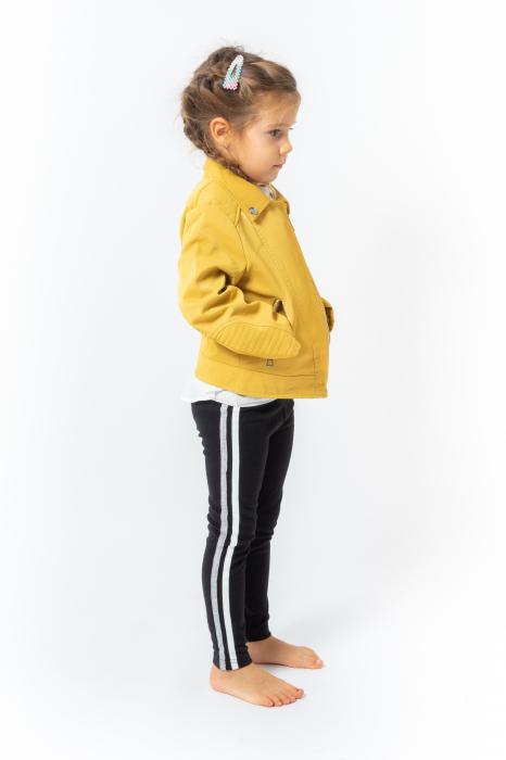 Jachetă Scurtă Cu Efect De Piele Culoare Galben 2