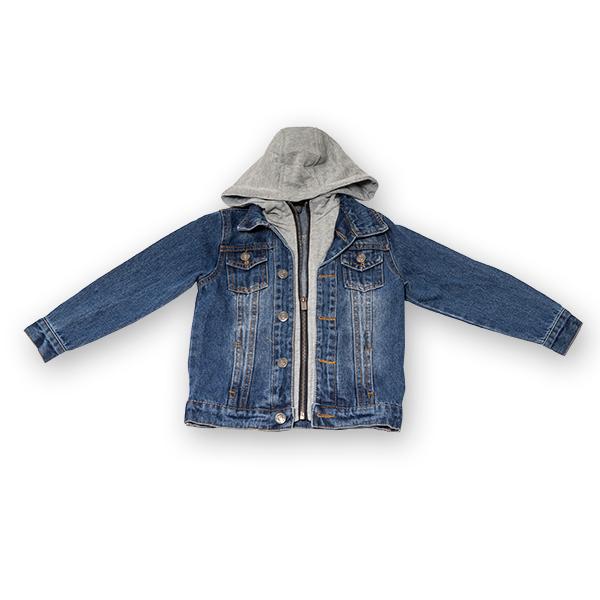 Jachetă Scurtă Din Denim Cu Glugă 0