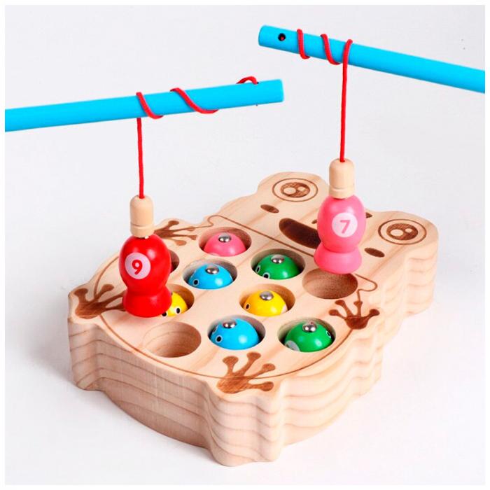 Joc de pescuit magnetic din lemn - broscuta 0