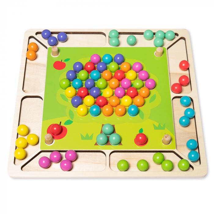 Joc din lemn 2 in 1 de  indemanare si memorie cu bile [0]