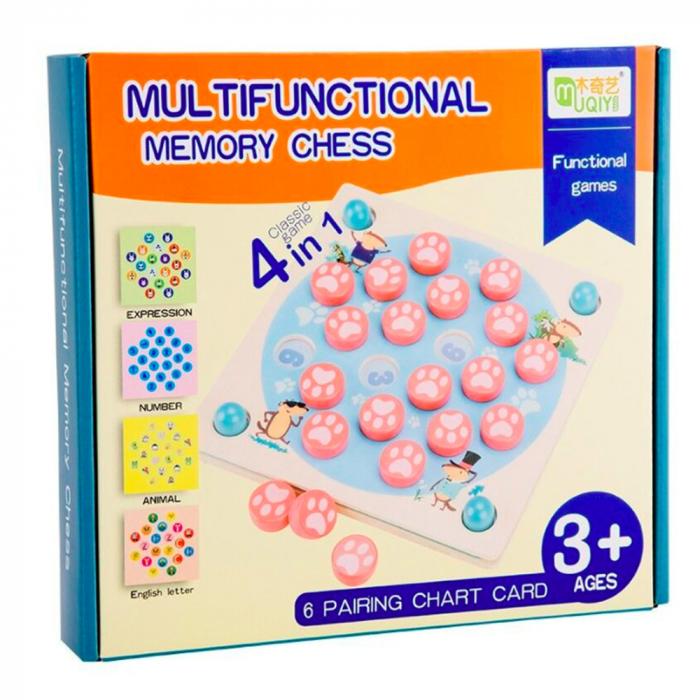 Joc din lemn 4 in 1 Multifunctional Memory Chess 1