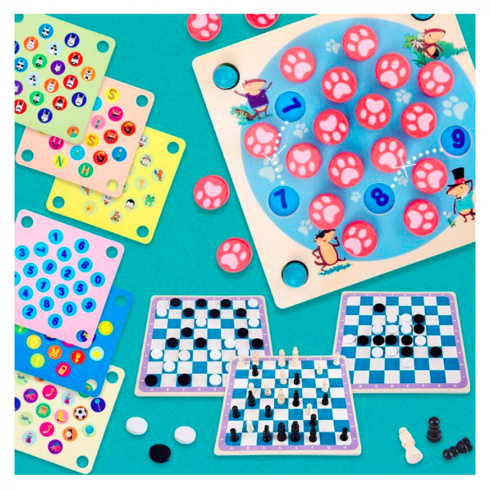 Joc din lemn 4 in 1 Multifunctional Memory Chess 0