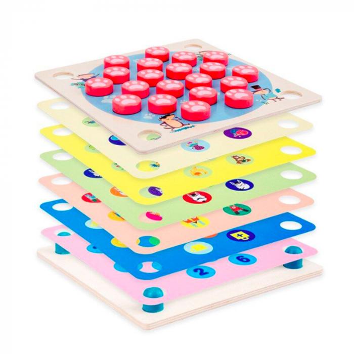 Joc din lemn 4 in 1 Multifunctional Memory Chess 2