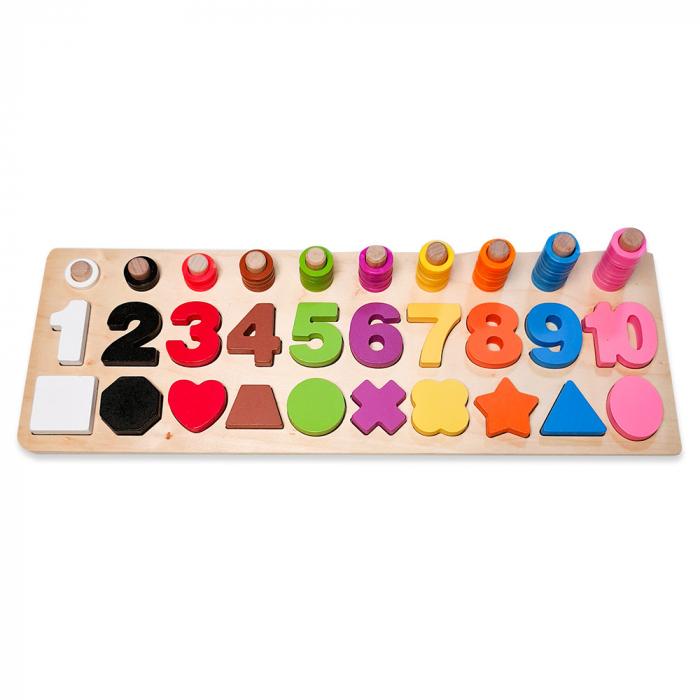 Joc logaritmic 3 in 1 din lemn de numărare, stivuire si sortare cu cifre si forme geometrice 1