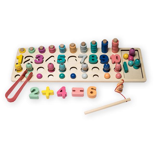 Joc logaritmic 4 in 1 din lemn de numărare, stivuire, sortare si pescuit 0
