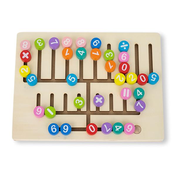Jucarie multifunctionala din lemn cu tablita magnetica  si puzzle [3]