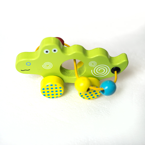 Mini jucarie din lemn cu spirala si bile - crocodil 0