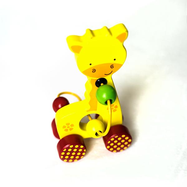 Mini jucarie din lemn cu spirala si bile - girafa 0
