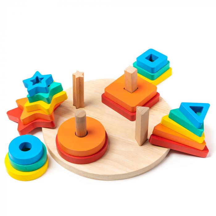 Jucarie din lemn - potrivire 4 forme geometrice 2