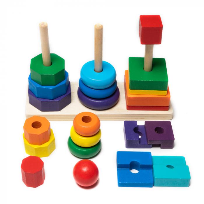 Jucarie din lemn - potrivire 3 forme geometrice 0