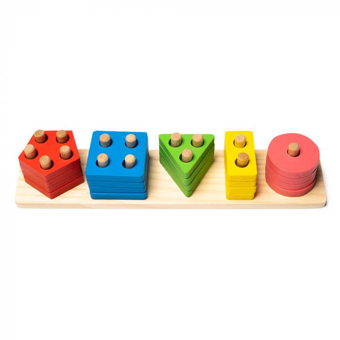 Jucarie din lemn - potrivire si stivuire 5 forme geometrice 0