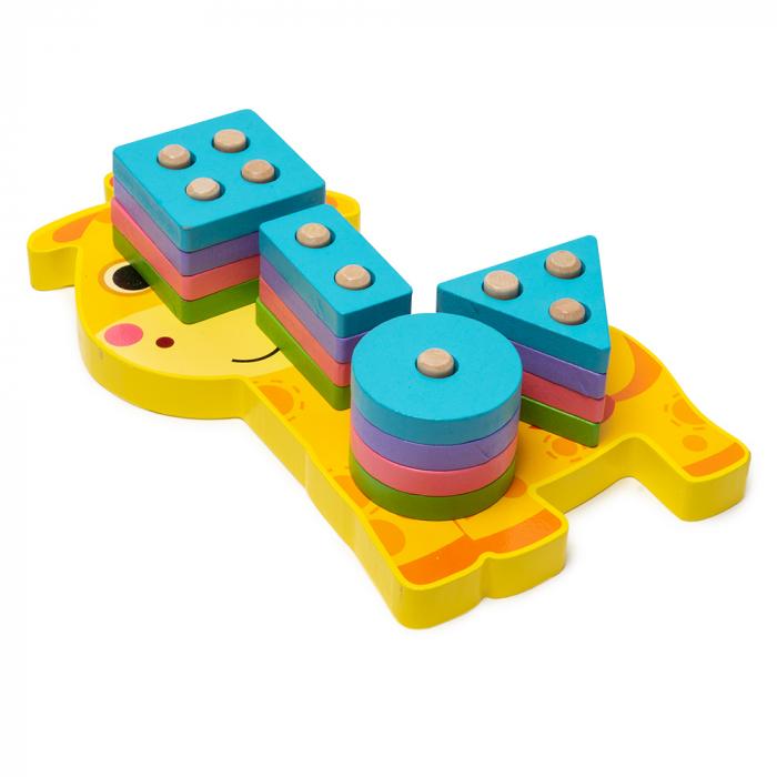 Jucarie din lemn - potrivire si stivuire 4 forme - girafa [1]